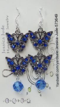 BLUE BUTTERFLY EARRINGS-handmade