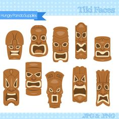 Items similar to Tiki Mask Clipart, tiki faces clipart, tiki statues clip art, hawaiian tiki digital clipart set on Etsy Luau Theme Party, Moana Birthday Party, Luau Birthday, Hawaiian Tiki, Hawaiian Theme, Totem Tiki, Survivor Party, Tiki Faces, Tiki Head