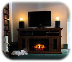 Kitty by fireplace.  Electric fireplace-media center.
