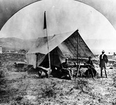 Clarence King in camp, Salt Lake City, Utah. United StatesGeological Exploration of the Fortieth Parallel (King Survey). King was the first director of the USGS Bay Lodge, Salt Lake City Utah, Sierra Nevada, Historical Photos, Rocky Mountains, Geology, Outdoor Gear, Old Things, United States