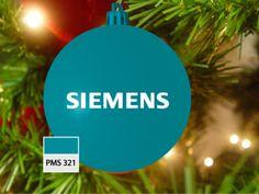 Kerstbal blauw/groen, pms 321, met logo Siemens in wit
