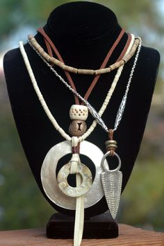 Island Style Leather and White Shell Hoop Multiple Pendant Necklace