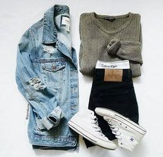 ☆ Missguided – Off-Shoulder-Pullover, schwarze Jeans, weiße / Nike-Sneakers, Stradivariu … - Teen Clothing Fall Winter Outfits, Autumn Winter Fashion, Summer Outfits, Casual Outfits, White Converse Outfits, Fall Fashion, Fashion Black, Winter Dresses, Spring Dresses