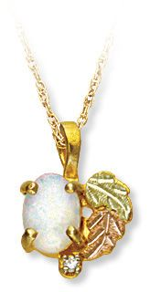 Black Hills Gold Opal Pendant with Diamond