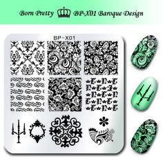 NACIDO PRETTY 6*6 cm Square Nail Art Sello Estampado de Placas Placa de la Imagen Plantilla de Diseño Barroco Floral para Las Uñas BP-X01