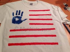 American Flag Handprint do it yourself t-shirt.  Fun for kids and adults and great for July 4th and Memorial Day.  Great gift too!