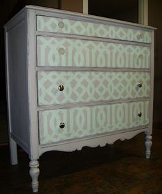 "Drawers covered with contact paper by DCWV Contact Paper ""Decorative Trim"" @ Joanns"