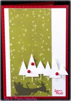 carte de Noël avec sapin et traineau du Père Noel de cécile