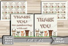 Printable Baby Shower Thank You Tag Woodland  by DigitalitemsShop