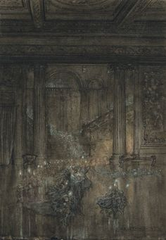 Oberon and Titania stand in the foreground at the head of a parade of fairies who trail out behind them and up the stairs in the background. All of the fairies hold wands with glimmering lights at their tips. A Midsummer Night's Dream by Arthur Rackham