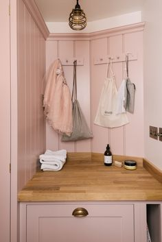 You need these twenty laundry organizers for your home ASAP—they'll streamline the process so you won't dread the chore anymore. Pink Laundry Rooms, Laundry Room Shelves, Laundry Decor, Laundry Room Design, Laundry Storage, Laundry Sorter, Wine Storage, Bag Storage, Devol Shaker Kitchen
