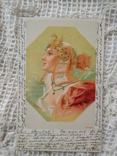 Antique litho art postcard, lady in ornated diadem, headdress, unique one 1900s' Catherine Klein, Wax Museum, Headdress, Female Art, Art Nouveau, Antiques, Lady, Woman Art, Antiquities