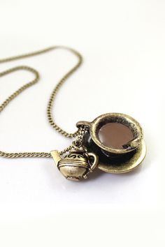 Super Cute! Great Gift Idea for a Coffee or Tea Lover! Want! Want! Want! Tiny Little Vintage Coffee Cup Short Necklace #Coffee #Tea #Gift #Ideas #Gold #Fashion #Jewelry #Accessories