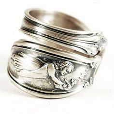 Girl and Kitten Kiss Me Sterling Silver Spoon Ring by by Spoonier