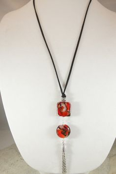 Lariat Necklace Red and Black Lampwork by ShadesofyouJewelry