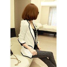 Elegant Lapel Blocking Color Puff Sleeves Women's Blazer, WHITE, M in Blazers | DressLily.com