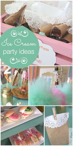 A pink and mint Ice Cream Social girl birthday party with fun party favors and decorations! See more party planning ideas at CatchMyParty.com!