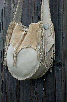 Buckskin leather tote drum bag Crossbody bag by thunderrose