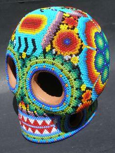 Huichol Clay Skull