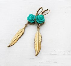 Gold Feather Earrings Turquoise Rose by laurenblythedesigns, $24.00