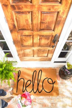 """Our """"Hello"""" Coco Mat extends a proper greeting to everyone who arrives on your threshold. Boxwood Garden, Outdoor Rugs, Outdoor Decor, Outdoor Furniture, Outdoor Doormats, Outdoor Sectional, Grandin Road, Spring Door, Home Living"""