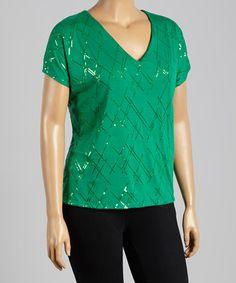 Green Sequin V-Neck Top - Plus by Bellino, $15 !!   #zulily #zulilyfinds