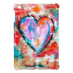 Reckless Heart Abstract Art Painting Pink Red Blue Case For The iPad Mini - Saint Valentine's Day gift idea couple love girlfriend boyfriend design