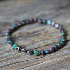 Ethiopian Opal Black Diamond and Pave Delicate Stacking by byjodi