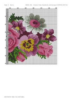 Gallery.ru / Фото #1 - 40 - saudades Easy Cross Stitch Patterns, Simple Cross Stitch, Cross Stitch Rose, Cross Stitch Flowers, Brother Innovis, Bunch Of Flowers, Sewing Clothes, Cross Stitching, Projects To Try