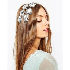 ASOS Wedding Embellished Flower Occasion Hair Clip ($17) ❤ liked on Polyvore featuring accessories, hair accessories, white, asos, flower hair accessories, white hair clips, floral hair accessories and flower hair comb