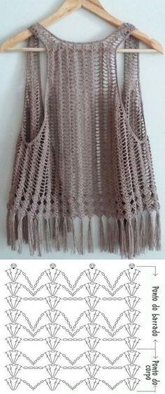 10 modelos de blusa de crochê com gráfico do ponto ⋆ De Frente Para O Mar Gilet Crochet, Crochet Shrug Pattern, Diy Crochet And Knitting, Crochet Poncho, Crochet Cardigan, Crochet Clothes, Crochet Lace, Crochet Stitches, Crochet Baby Dresses