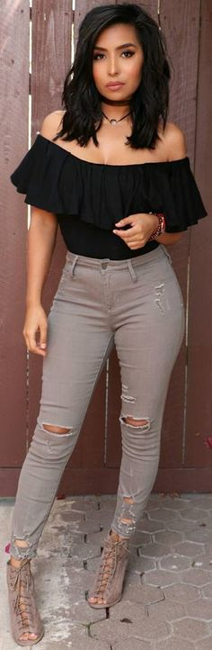 Black & Tan // Top & booties @shopdressygirl  , Jeans  @victoriasboutique2012 // Fashion Look by  itsmsmonica