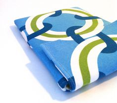 Kindle Fire, iPad Mini, Galaxy Nexus, Nook Case Sleeve in blue, green and white. $22.00, via Etsy.