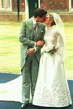 London was the setting for the marriage between Marie-Chantal and Crown Prince Pavlos of Greece, who wed in Bayswater's St Sophia Cathedral on July 1, 1995. The bride – born in the British capital – said her vows wearing a silk ivory Valentino dress thought to have cost an estimated £150,000. The gown's skirt was adorned with appliquéd roses, with smaller flowers decorating its lace bodice. On her head she wore a scalloped veil made from four-and-a-half metres of Chantilly lace and…