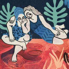 Friendship 💜 #illustration #gouache #painting #women #friendship #love #art #illustrator #sophiebass #support #hug #sisterhood #blue #pink… Hug Illustration, Character Illustration, Women Friendship, Drawings, Gouache Painting, Pink, Inspiration, Bass, Illustrator