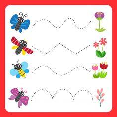 Worksheet vector design for kid Premium Vector Flower Activities For Kids, Preschool Learning Activities, Free Preschool, Summer Worksheets, Tracing Worksheets, Preschool Worksheets, Prewriting Skills, Handwriting Activities, Insect Crafts