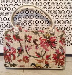 Vintage 1940's Floral Needlepoint Boutique Leather Handbag Purse Flower RARE