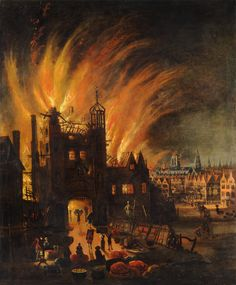 Great Fire of London,with Ludgate and Old St.Paul's-Ludgate in flames,with St Paul's Cathedral in the distance (square tower without the spire) now catching flames.Oil painting by anonymous artist, London City, Fire London, Great Fire Of London, The Great Fire, London Bridge, Old London, London History, British History, Modern History