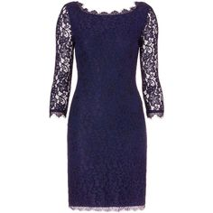 DVF Zarita Long Lace Dress (1,250 PEN) ❤ liked on Polyvore featuring dresses, diane von furstenberg dress, lace dress, open back long dresses, blue lace cocktail dress and lace sleeve cocktail dress