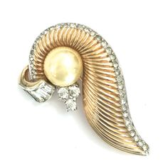 Mazer Faux Pearl and Rhinestone Brooch Baguettes by Vintageimagine