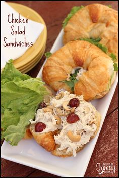 Chicken Salad Sandwiches - My favorite way to serve the chicken salad is on croissants, but they also taste great in a pita pocket, a wrap, or on wheat or white bread.
