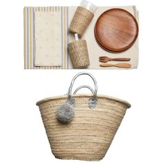 ACME Party Box Company Boho Lux Picnic Basket For 2 featuring polyvore home kitchen & dining food storage containers woven basket picnic basket picnic hamper woven picnic basket square baskets