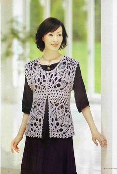 Crochet vest or jacket  CARAMELO ARDIENTE es... LA PRINCESA DEL CROCHET: chaleco japonés