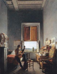 Louis-Vincent-Léon Pallière in His Studio at the Villa Medici (1817). by Jean Alaux. Oil on paper, laid on canvas.