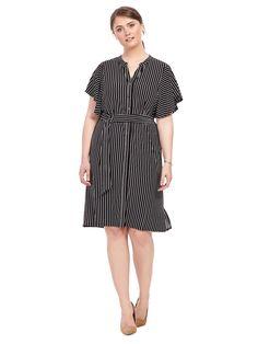 Adrianna Papell | Black & Ivory Shirt Dress | Gwynnie Bee