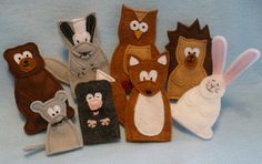 close up of The Mitten puppet set