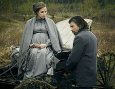 Photo of Cullen Bohannon (Anson Mount) and Naomi Hatch (MacKenzie Porter) for fans of Hell on Wheels.