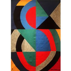 Sonia Delaunay Aubusson Tapestry, 1970s | From a unique collection of antique and modern tapestries at https://www.1stdibs.com/furniture/wall-decorations/tapestry/