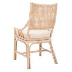 Introduce international flair into your dining room with the Safavieh Donatella Rattan Chair . Fine rattan, rawhide lacings, and a seat cushion. Rattan Dining Chairs, Outdoor Chairs, Kitchen Chairs, Kitchen Nook, Bamboo Chairs, Rattan Furniture, Eames Chairs, House Furniture, Dining Chair Set