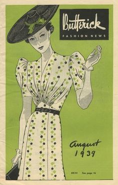 August 1933 day dress on the cover of Butterick Fashion News sewing pattern booklet